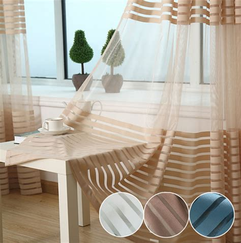 Striped Kitchen Curtains Striped Kitchen Striped Sheer Voile Tulle Window Screening Blinds Gauze
