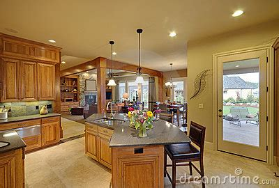 Luxury Living Room And Kitchen Luxury Kitchen With View Of Living Room Royalty Free Stock