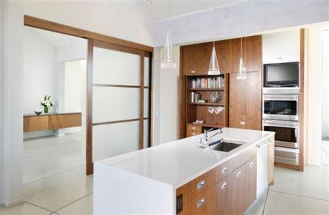 kitchen sliding door design ergonomic and organized contemporary kitchen with