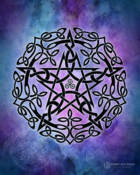 blue myst celtic pentacle pagan wiccan print brigid