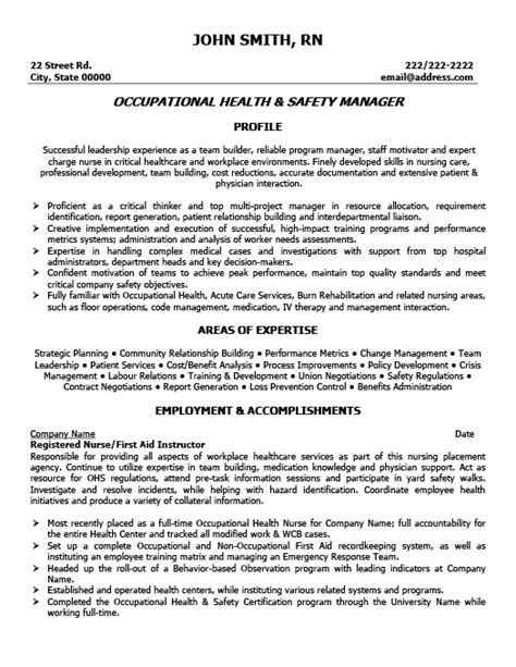 ehs resume exles occupational health and safety manager resume template