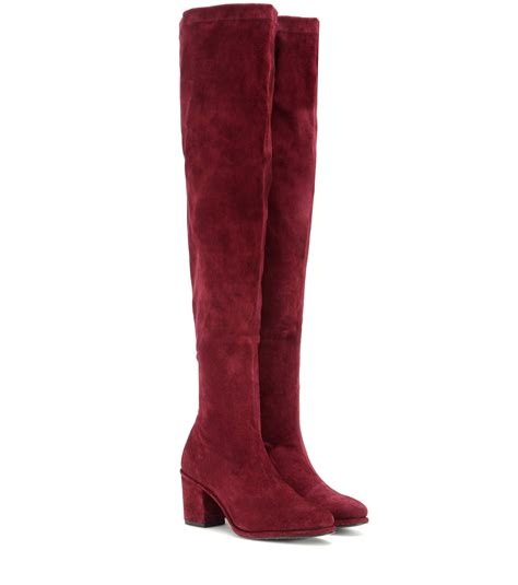the knee boots for lyst opening ceremony suede the knee boots in purple