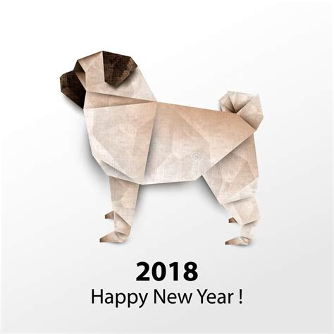 Origami Pug - pug paper origami vector illustration 2018 happy