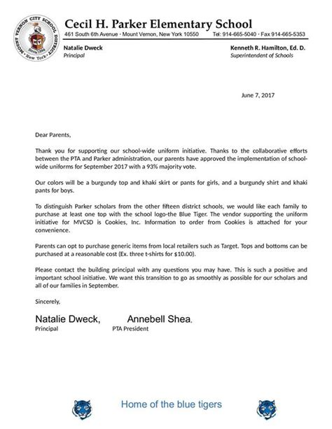 Parent Letter About Uniforms elementary homepage