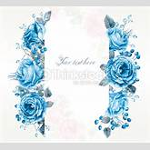 Frame Of Watercolor Blue Roses And Berries Stock Illustration ...