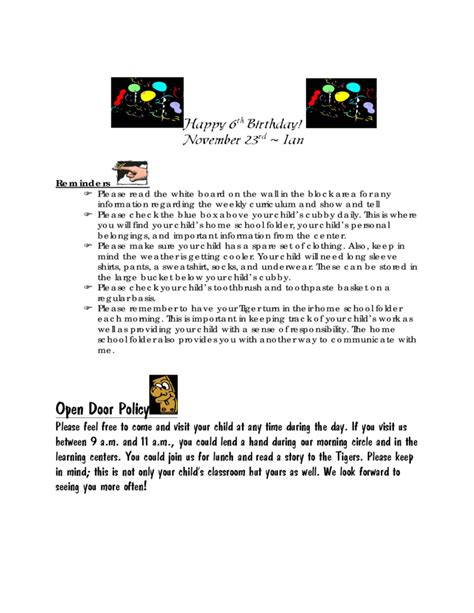 kindergarten november newsletter free download