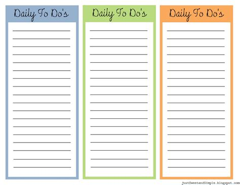 printable daily to do list template just sweet and simple printable daily to do list s