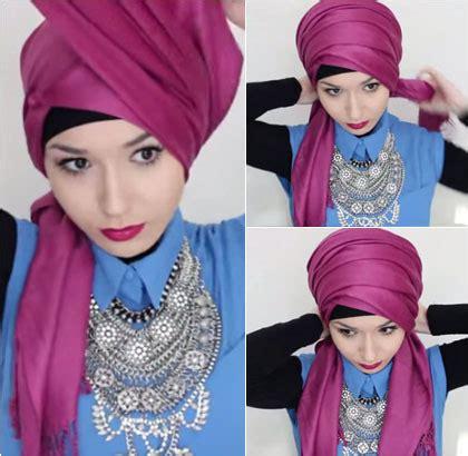 tutorial turban pashmina motif tutorial hijab turban simpel dengan pashmina ala hijabers