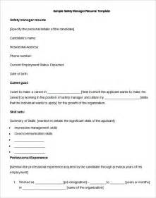 Safety Manager Sle Resume by Manufacturing Resume Template 26 Free Sles Exles Format Free Premium