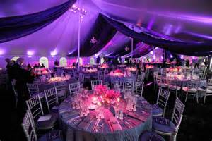 The purple theme continued to the linens napkins and seat cushions
