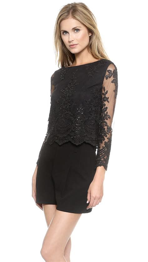 Sleeve Top Combi Plaid Lace lyst sleeve lace top black in black