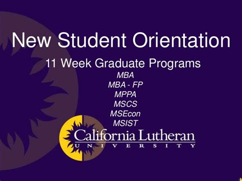 Fp A Mba by Clu New Graduate Student Orientation