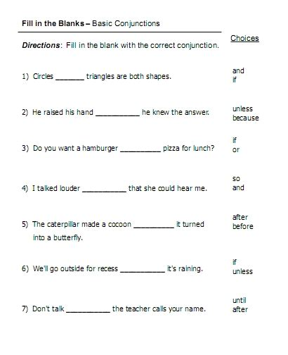 Conjunction Worksheets by Conjunctions Free Language Stuff