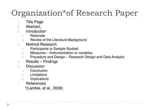 organization of a research paper ppt apa style and scholarly writing powerpoint