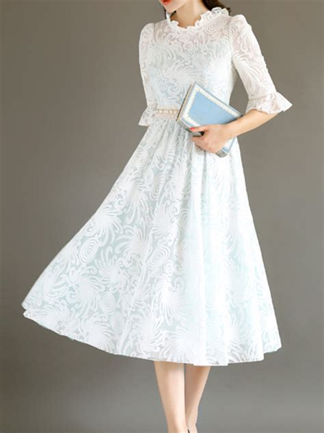 white puff sleeve lace vintage dress choies