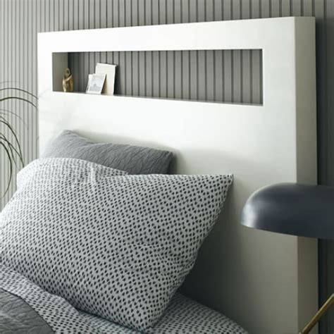 white wood headboard wood cutout headboard white west elm