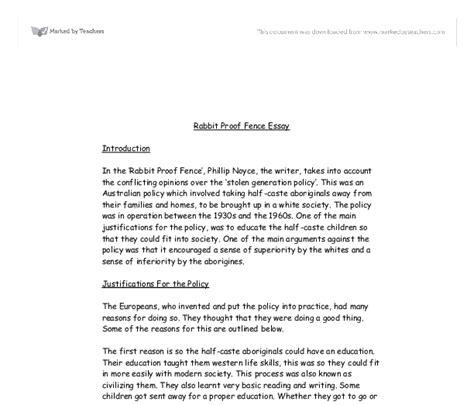 Rabbit Proof Fence Essay Techniques by Rabbit Proof Fence Essay Review Gcse Science Marked By Teachers