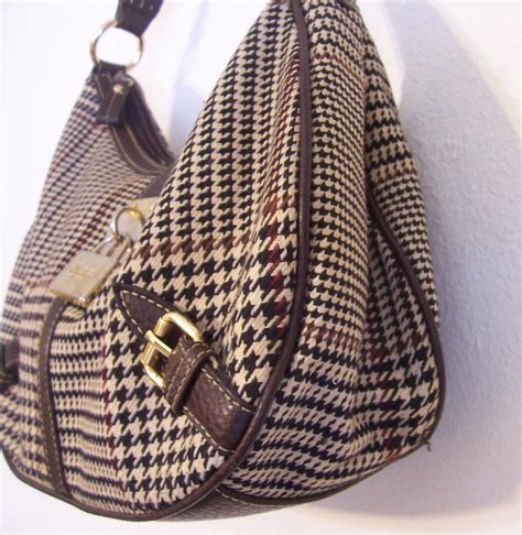 Houndstooth Shoulder Bag chaps leather houndstooth brown and houndstooth fabric