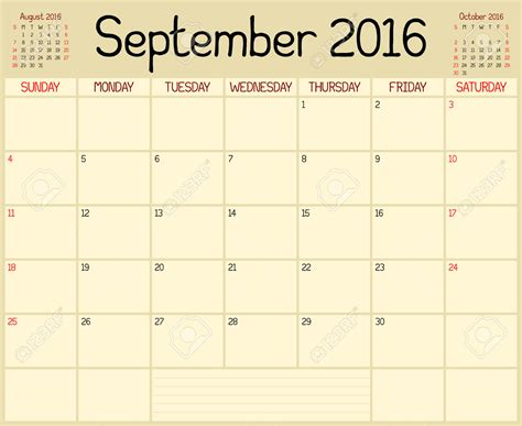 Calendar 2015 September Uk September 2016 Planner