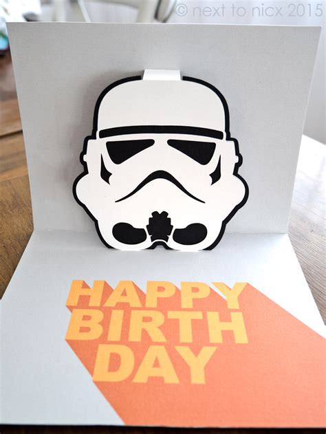 wars birthday card template stormtrooper pop up card next to nicx