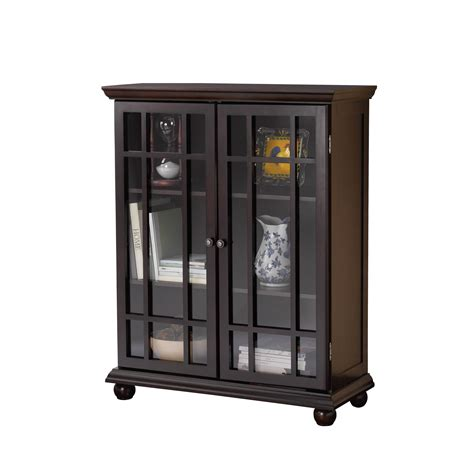 Furniture Rectangle Brown Wooden Bookcases With Lift Up Black Bookcases With Glass Doors