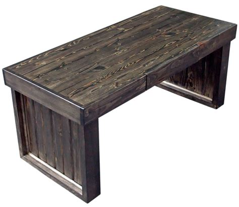 This Rugged Looking Pine Coffee Table Is Finished With Stain Coffee Table