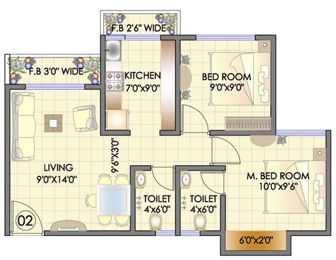 2bhk floor plan residency park hdil