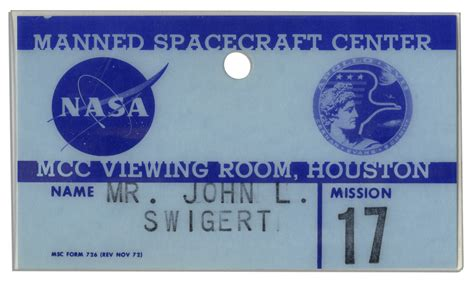 nasa government id card template lot detail swigert s apollo 17 badge issued by nasa