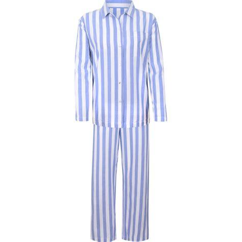 Piyama Stripe by Stripe Sleeve Womens Pyjama Set Blue White