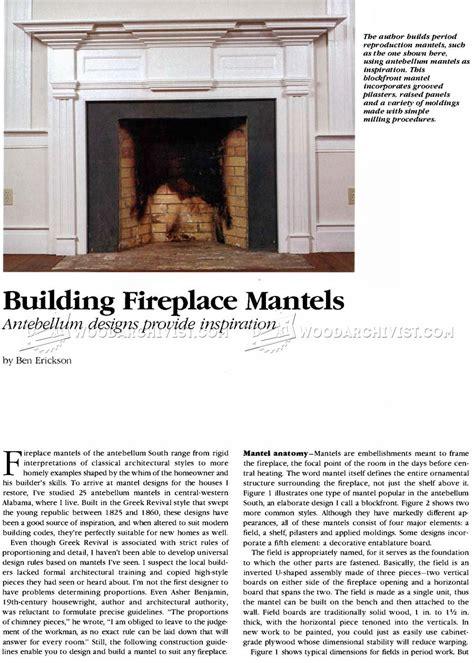Fireplace Mantel Woodworking Plans by Fireplace Mantels Plans Woodarchivist