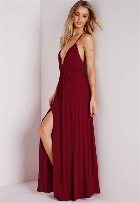 Wine Maxy missguided cheesecloth plunge maxi dress wine gorg