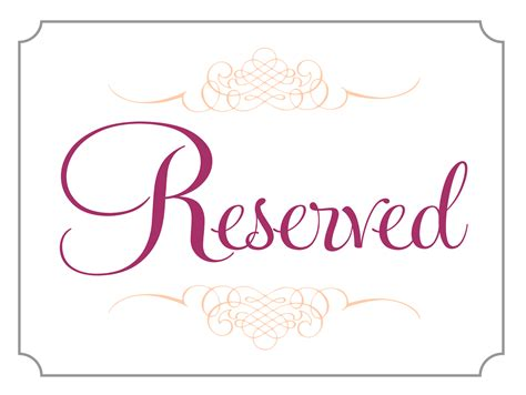 Reserved Place Card Template by The Gallery For Gt Reserved Table Signs Template