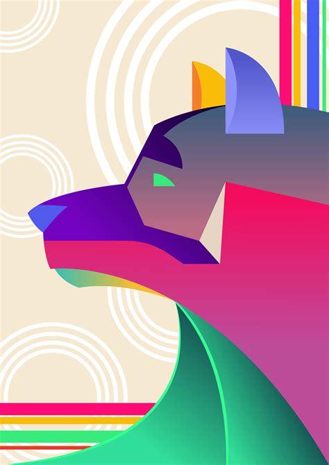 abstract dog   vectors clipart graphics