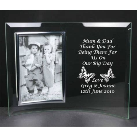 engraved curved glass photo frame