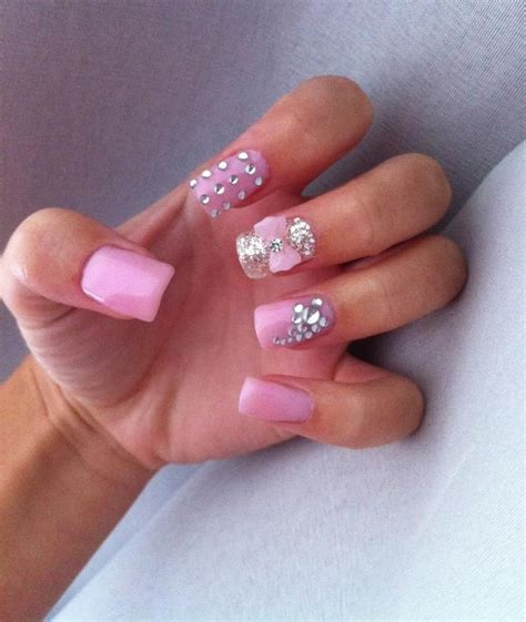 diamante pattern on nails pink gel nails with diamante how would you do anything