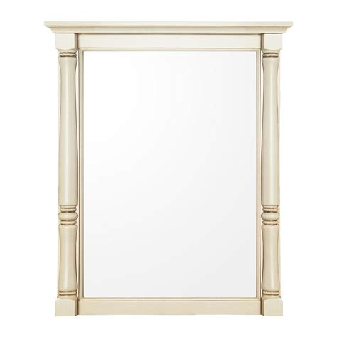 home decorators collection albertine 30 in l x 24 in w framed wall mirror in white