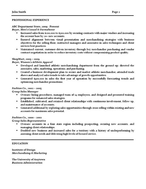 resume templates for a buyer retail buyer resume