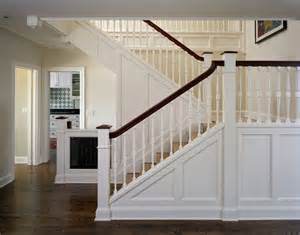 Craftsman or mission style staircase knee wall white and stained