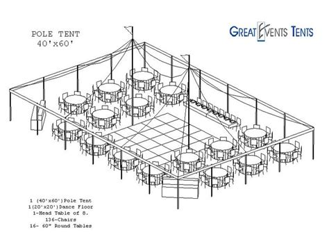 tent layout for wedding reception perfect visual of a 40 x 60 pole tent about the size of