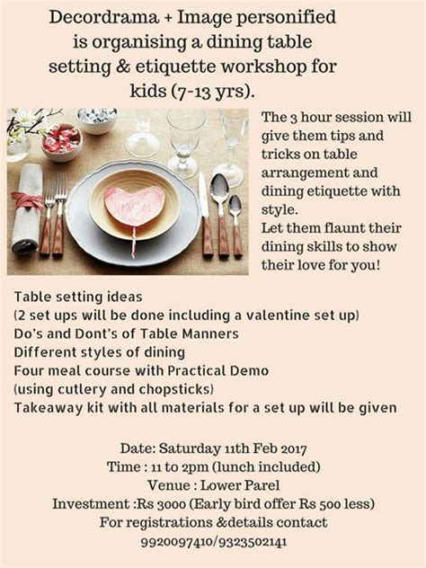 Dining Table Setting Etiquette Dining Table Setting And Etiquette Workshop At Mumbai Events High