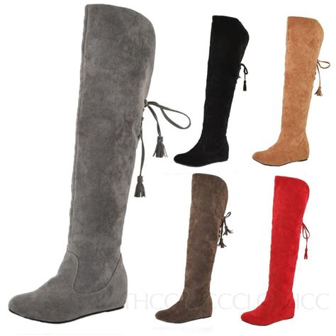 winter flat shoes snow suede flats shoes knee length boots ribbon