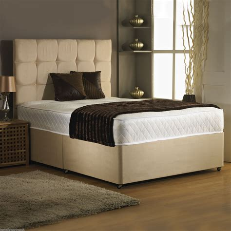 4ft small double bed 4ft small double divan bed base only in stone colour suede