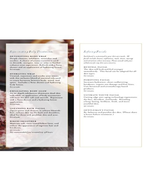 service menu template spa menu of service the white barn inn free