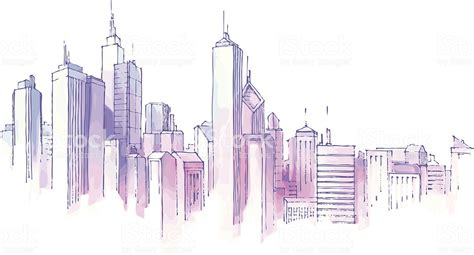 city background drawing drawing of city skyline on white background stock vector