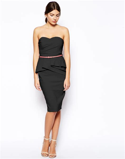 asos belted bengaline pencil dress in black lyst