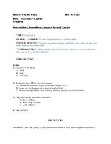 Presentation Outline Speech by Informative Speech Formal Outline 1