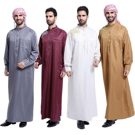 arab robe pattern fashion muslim clothing men robes long sleeve embroidery