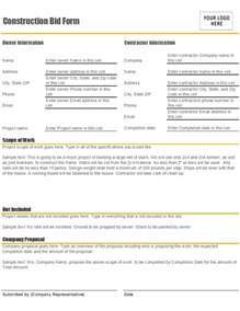 bid document template construction bid form office templates