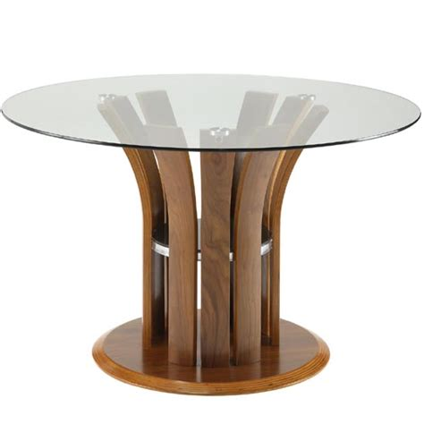 Clear Dining Tables Curve Clear Glass Dining Table In Walnut 18391 Furnitu