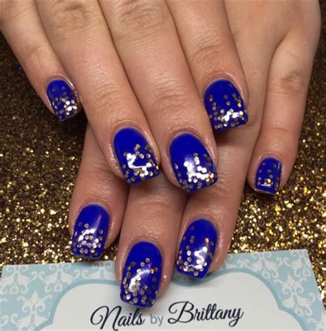 Navy Light Blue Facile Dress navy blue with cascading gold glitter nail gallery